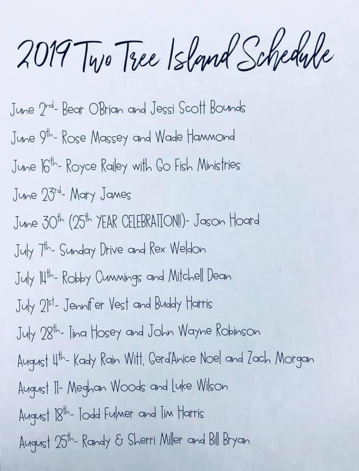 2019 2 Tree Island Schedule